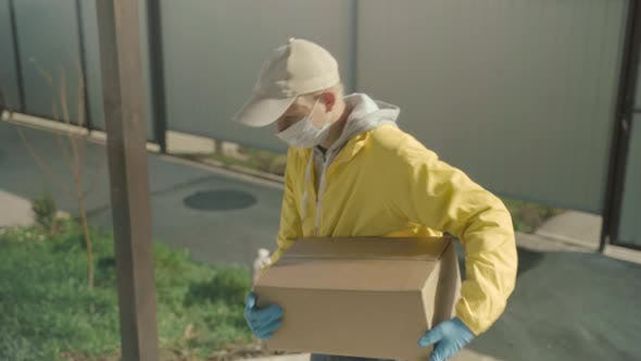 Thumbnail for Courier Man Wearing Face Mask And Rubber Gloves Delivery Service