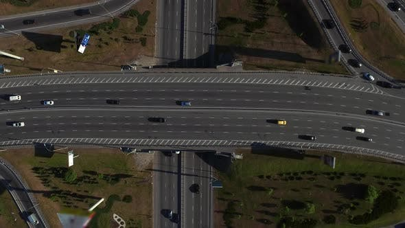Thumbnail for Cars Traffic on Highway Road, Aerial View Car Moving on Freeway Interchange