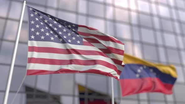 Flying Flags of the USA and Venezuela