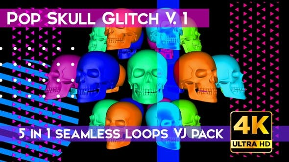 Thumbnail for Skull Pop Glitch V.1 VJ Loops