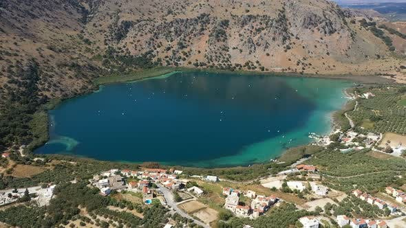 Aerial Drone Panoramic Video of Famous Natural Lake of Kournas with Amazing Colours and Unique