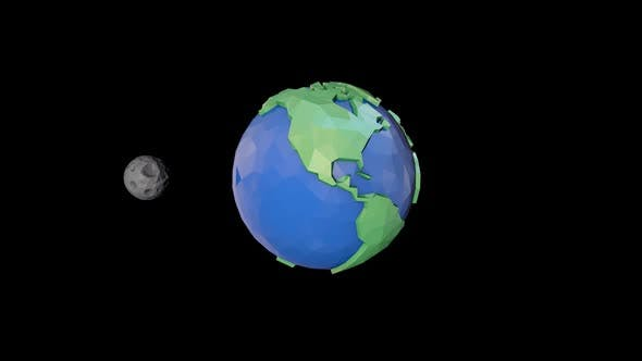 Low Poly Earth and Moon