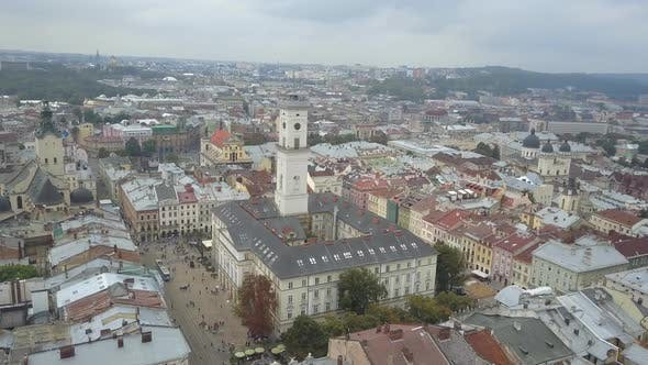Thumbnail for Beautiful Shot From Above the Outstanding Town Hall of Lviv, Which Is Located in the City Center