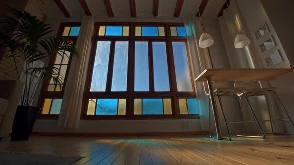 Timelapse of sun shining through the house window