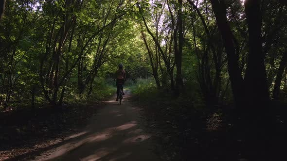 Thumbnail for Aerial Shot of Young Sport Woman Rides Bicycle on Forest Road at Summer Sunset. Happy Holiday or