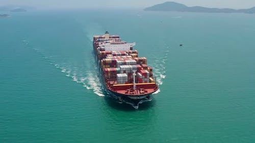 Aerial View of Container Cargo Ship in Sea