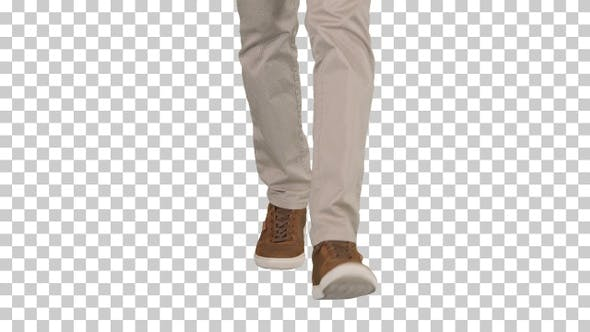 Thumbnail for Men Feet Walking in Beige Jeans and Brown Sneakers, Alpha Channel