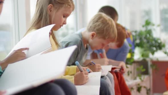 Thumbnail for Cute Schoolchildren Drawing during Recess