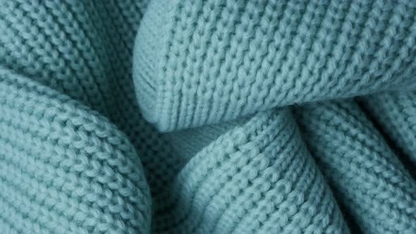 Thumbnail for Closeup of Turquoise Knitted Wool Texture, Background