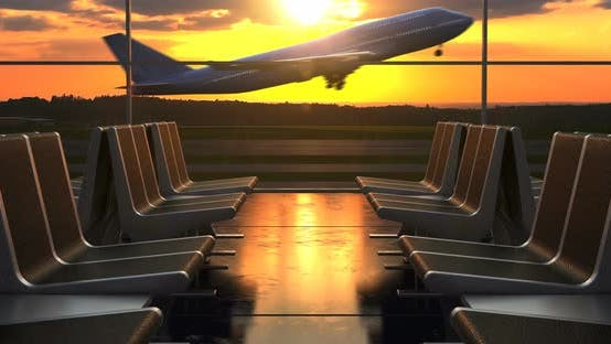 Thumbnail for Airplane Take-Off against Scenic Sunset seen through Departure Lounge Windows