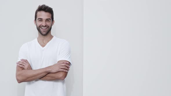 Smiling Guy In White T-Shirt