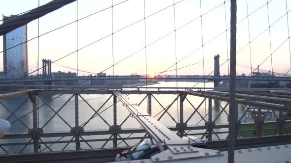 Thumbnail for On Brooklyn Bridge Looking Into East River No People with Cars, Traffic Passing the Bridge Summer