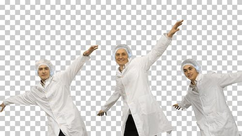 Group of three smiling doctors, Alpha Channel