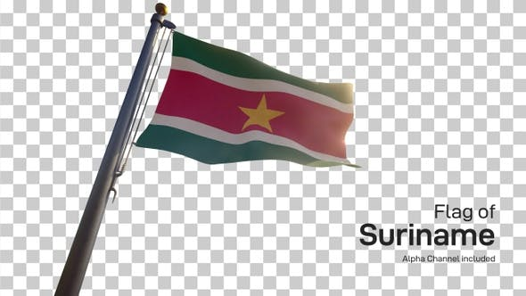 Thumbnail for Suriname Flag on a Flagpole with Alpha-Channel