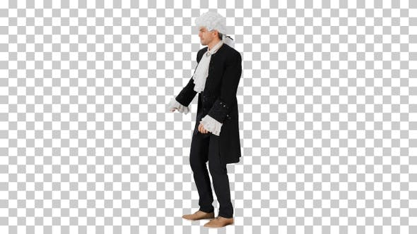 A man dressed as a courtier doing nothing, Alpha Channel
