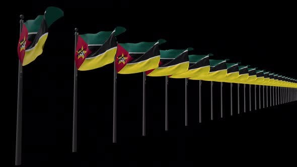 Row Of Mozambique Flags With Alpha 2K