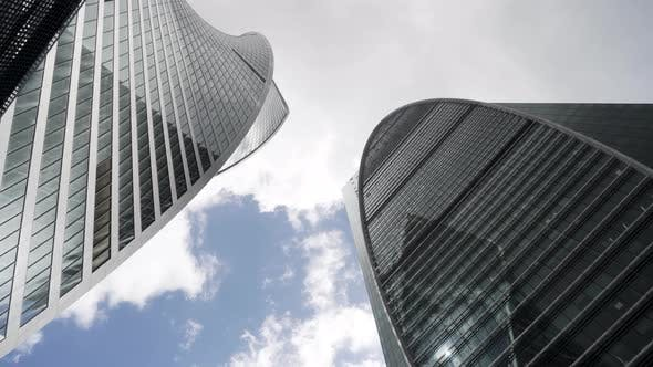 Low angle view of Moscow-City skyscrapers