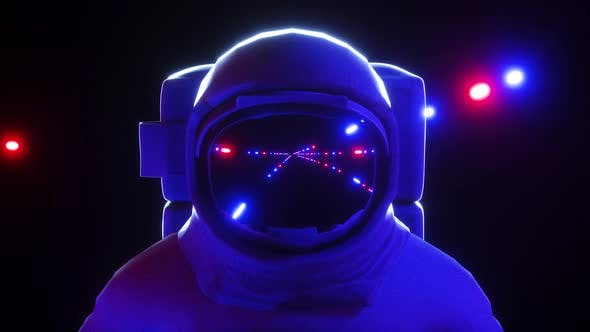 Thumbnail for Astronaut With Neon Laser Lights In Dark Space 4K