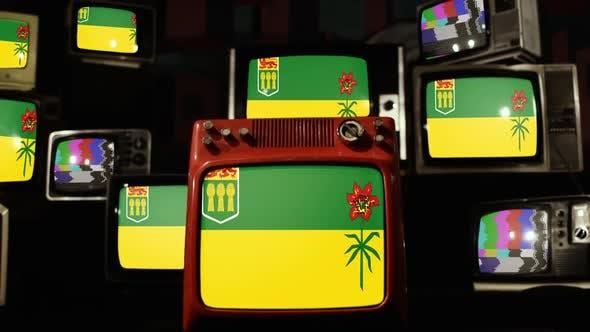Thumbnail for Flag of Saskatchewan, Canada, and Retro TVs.