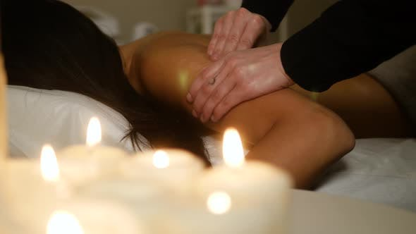 Cover Image for Traditional Oriental Aroma Therapy. Woman Relaxing in Spa Salon, Close Up Macro Massage Professional