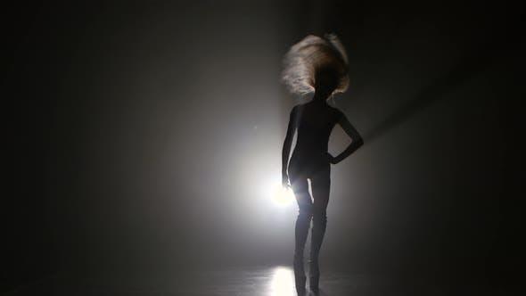 Thumbnail for Blonde Sexy Girl Dancing on High Heels. Dark Smoke Studio