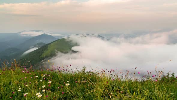 Thumbnail for Foggy Clouds Moving in Green Mountains Nature in Sunny Summer Morning