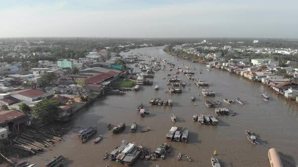 Thumbnail for Aerial: flying over Cai Rang floating market in the morning, Can Tho, Vietnam