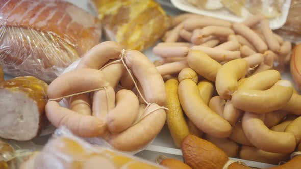 Assortment of Sausages and Smoked Meat on Sale in Food Shop