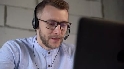 Call center worker answers the customer's call