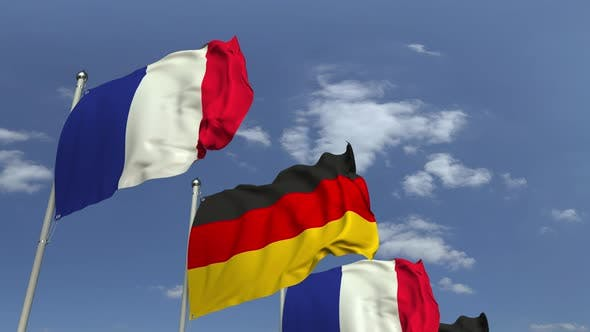 Waving Flags of Germany and France
