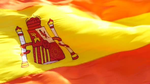 Spanien Flagge Slowmotion