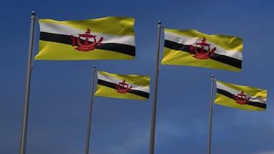 Brunei Flags  In The Blue Sky - 2K