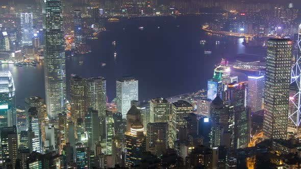 Thumbnail for of Hong Kong Harbor at Night. Pan Up