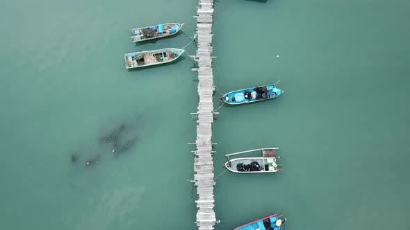 Thumbnail for Top view fisherman pier at Jelutong