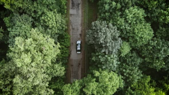 Aerial top down 4k view of white car driving on country road in forest in the evening at twilight