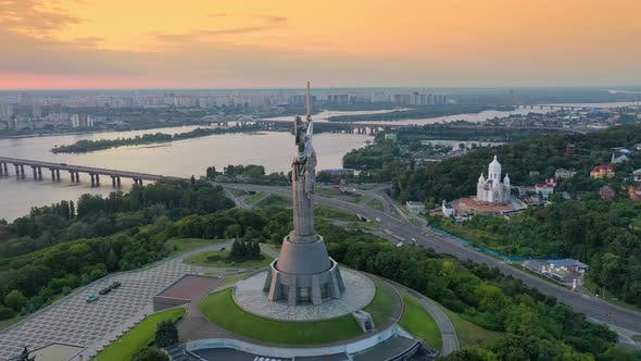 Thumbnail for Drone Footage Aerial View of the Motherland Monument in Kiev Kyiv, Ukraine