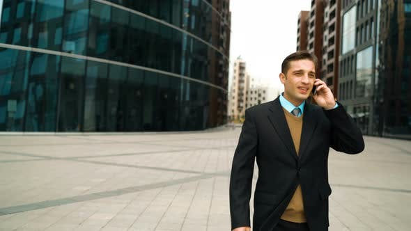 Thumbnail for Businessman with Smartphone Meet His Friend