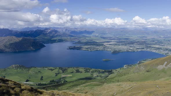 Timelapse Wanaka Town view from Roys Peak