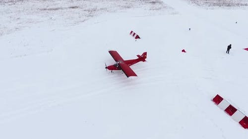 Red light aircraft Savannah. View from a height in winter