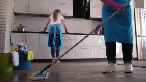 Thumbnail for Female Cleaner During Mopping in Apartment