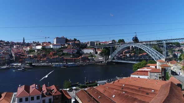 Thumbnail for Cable Car Crossing the Amazing City of Porto, Portugal