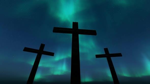 Thumbnail for Three Crosses (Aurora Background Loop)