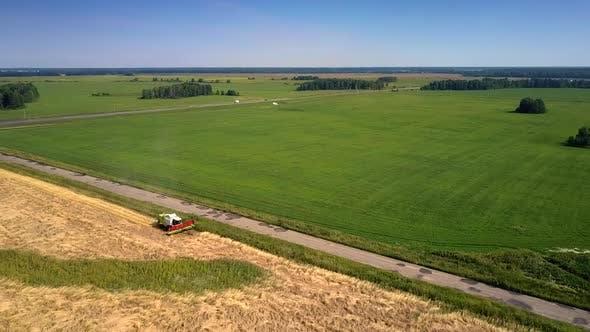Thumbnail for Vehicles Drive Along Rural Road Past Wheat Farmland