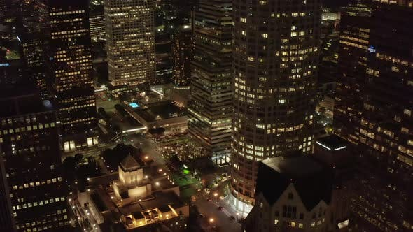 Los Angeles California United States at Night with City Lights and Skyscraper Towers Aerial Wide