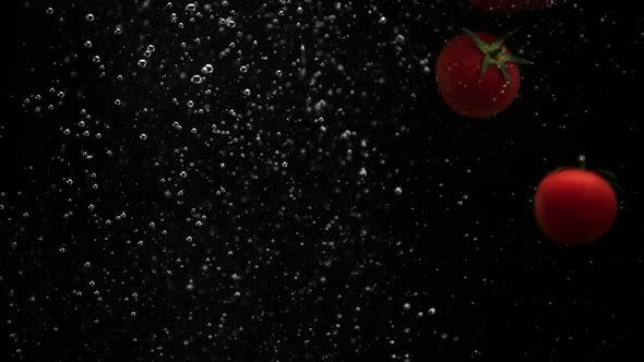 Thumbnail for Ripe Vegetables Cherry Tomatoes Red Yellow Paprika Peppers Falling Into Water Black Background