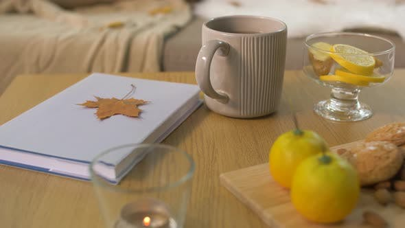 Thumbnail for Book, Lemon, Tea and Cookies on Table at Home
