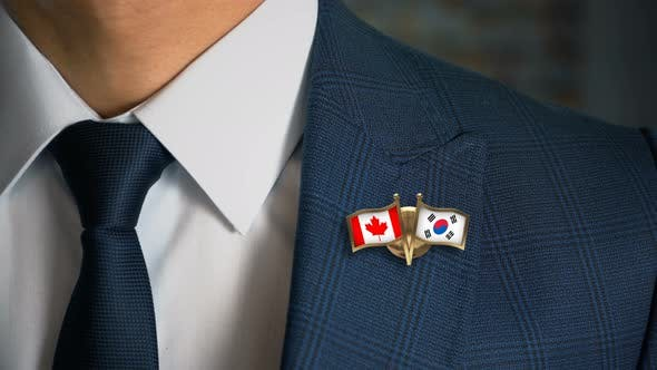Thumbnail for Businessman Friend Flags Pin Canada South Korea