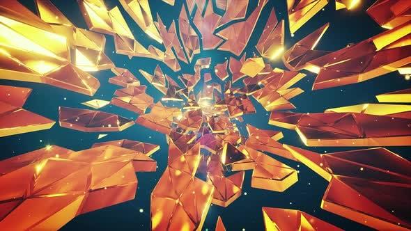 Thumbnail for Golden Debris Tunnel Neutral Vj Background  4k
