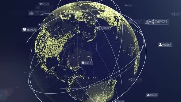 Thumbnail for Global communication network. Animation of digital earth map