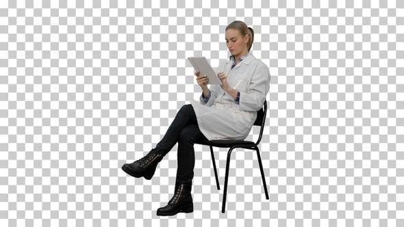 Thumbnail for Portrait of female doctor with tablet, Alpha Channel